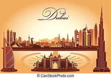 città, dubai, silhouette, orizzonte, fondo