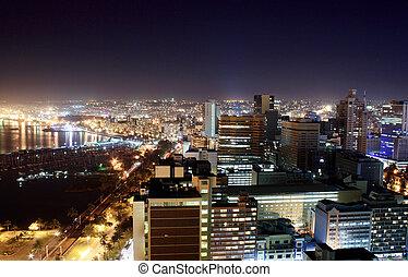 città, durban, notte