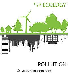 città, ecologia, contro, vettore, sfondo verde, inquinamento