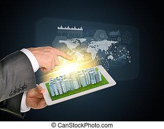 città, elementi, tavoletta, affari, schermo, virtuale,  computer,  PC, mani, tocco, usando, uomo