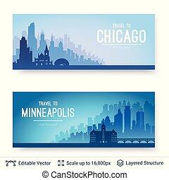 città, famoso, minneapolis, scapes., chicago