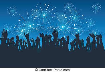 città, festa, anno nuovo