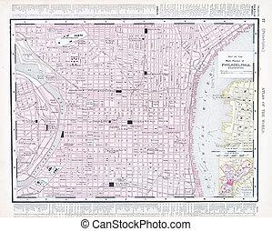 città, filadelfia, stati uniti, mappa, pennsylvania, strada