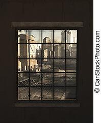 città, finestra, futuro, attraverso, vista