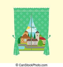 città, finestra, soleggiato, paesaggio, tenda