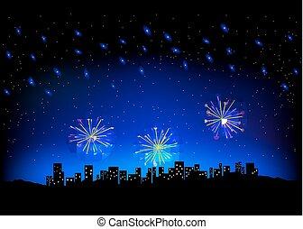 città, firework, cielo scape