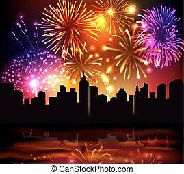 città, fireworks, fondo