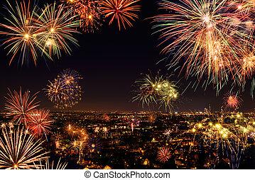 città, fireworks, intero, festeggiare