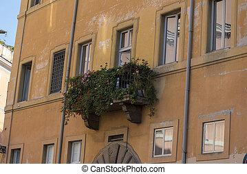 città, flowers., roma, coperto, balcone
