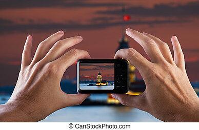 città, foto, viaggiare, istanbul., mano, macchina fotografica., fabbricazione, turkey., concept.