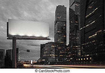 città, frame., luci, notte, interpretazione, tempo, vuoto, tabellone, 3d