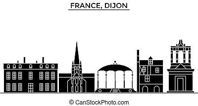 città, francia, bourgogne, costruzioni, viaggiare, dijon, viste, isolato, franche, limiti, comte, vettore, architettura, fondo, cityscape, orizzonte