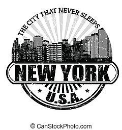 città, francobollo, (, mai, sleeps), york, nuovo