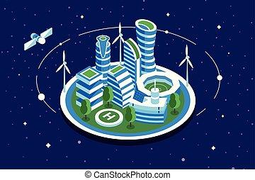 città, futuristico, spazio