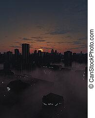 città, futuro, alba, nebbioso