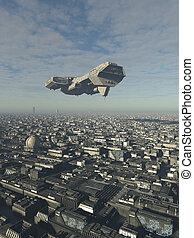 città, futuro, astronave, overflying