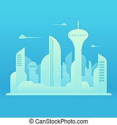 città, futuro, illustrazione