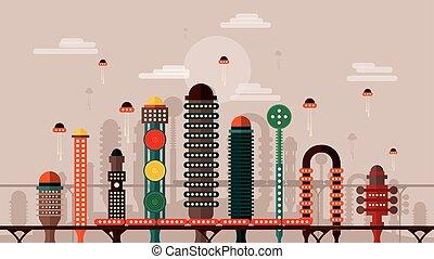 città, futuro, retro