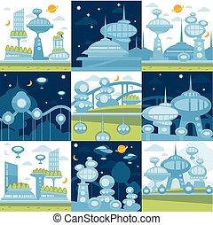 città, futuro, set, paesaggi