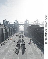 città, futuro, strada, ponte