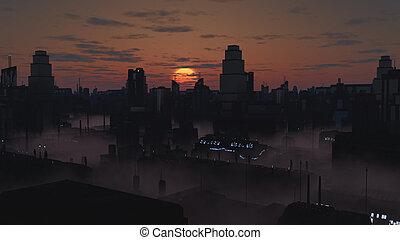 città, futuro, tramonto, nebbioso