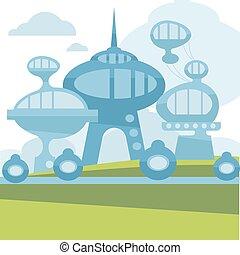 città, futuro, vettore, moderno, paesaggio.