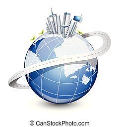 città, globe., moderno, illustrazione, vettore, disegno