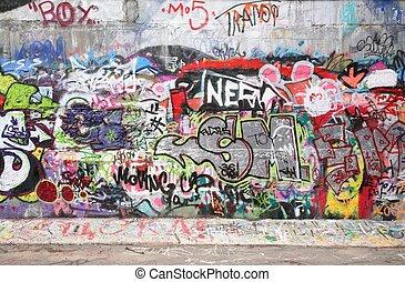 città, graffito, 2