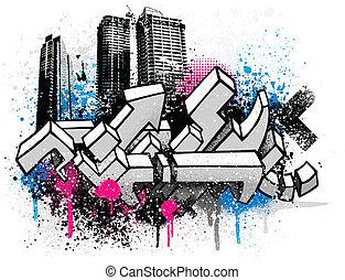 città, graffito, fondo