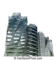 città, grattacieli, bianco, isolato