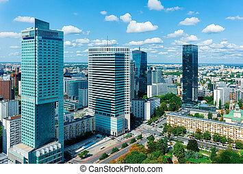 città, grattacieli, moderno, centro, orizzonte, varsavia