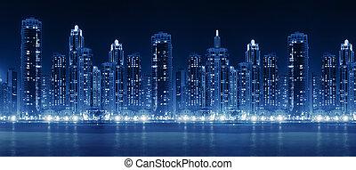città, grattacieli, moderno, hight, orizzonte, illuminato