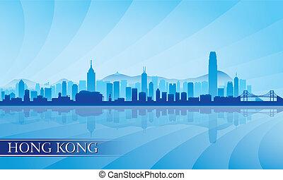 città, hong, silhouette, kong, orizzonte, fondo