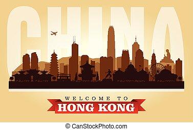 città, hong, silhouette, kong, orizzonte, vettore, porcellana