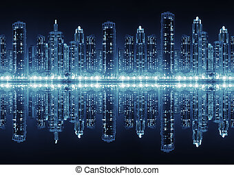 città, illuminato, skyscrape, moderno, hight, seamless, orizzonte