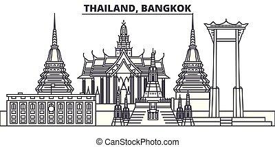 città, illustration., paesaggio., limiti, bangkok, famoso, orizzonte, vettore, viste, tailandia, cityscape, linea, lineare