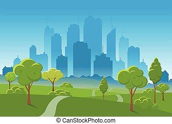 città, illustration., primavera, parco, fondo., vettore, fondo, pubblico, paesaggio