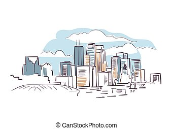 città, illustrazione, schizzo, minneapolis, vettore,...