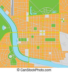 città, immaginario, vettore, mappa