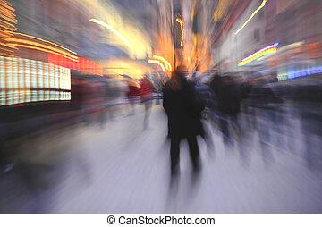 città, in-camer, sfocato, effetto, persone