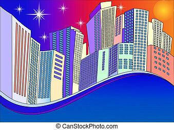 città, industriale, moderno, fondo