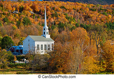 città, inghilterra, iconic, stowe, autunno, chiesa, nuovo