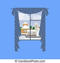 città, inverno finestra, paesaggio, tenda