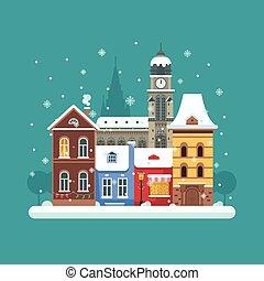 città, inverno, fondo