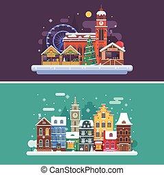 città, inverno, mercato, natale