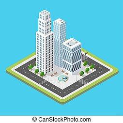 città, isometrico, 3d