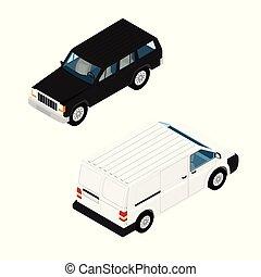 città, isometrico, automobile, trasporto, icone