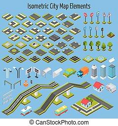 città, isometrico, elementi, mappa