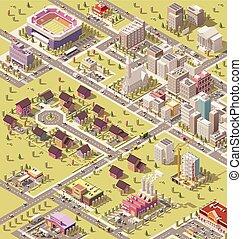 città, isometrico, vettore, basso, poly