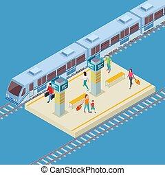 città, isometrico, vettore, posizione, stazione, ferrovia, 3d
